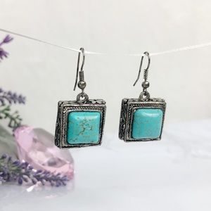 Square Turquoise 925 Sterling Silver Earrings